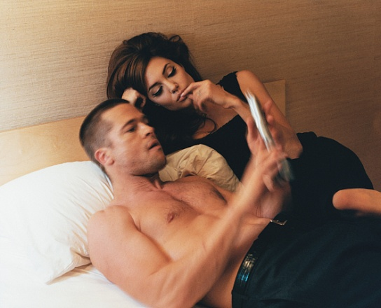 Brad and Angelina on the bed