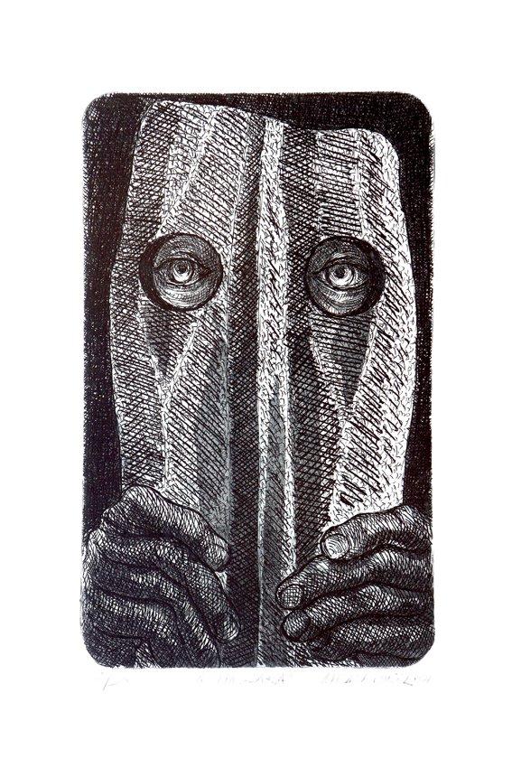 """A Máscara"" (2001): água-forte de Milan Dusek *Reprodução*"
