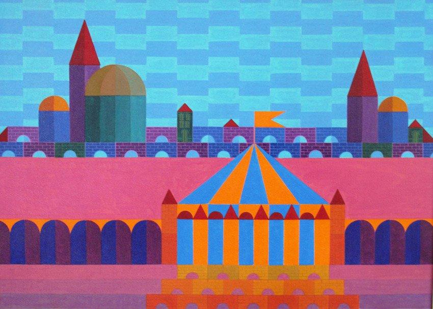 """""""Pequeno Arquiteto com Circo, n 2"""" (1986): óleo sobre tela de Milton Ribeiro *Reprodução*"""