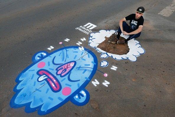 Grafiteiros pintam buracos no Distrito Federal - Brasília(DF), 08/02/2016