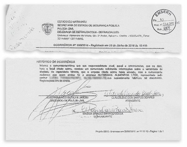 Boletim de ocorrência registrado no Maranhão