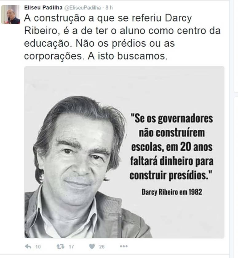 Em Meio à Crise Carcerária Padilha Cita Darcy Ribeiro No Twitter