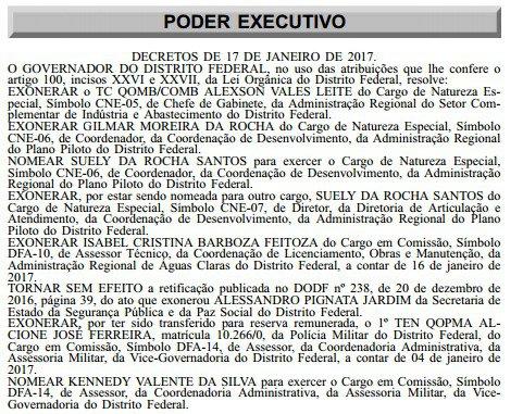 Reprodução Diário Oficial do DF