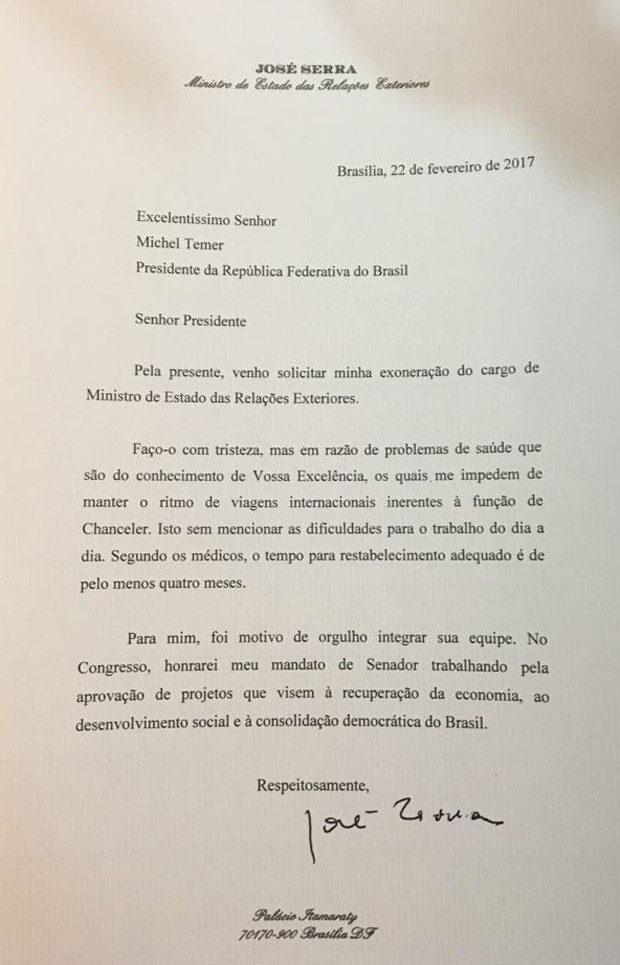 Jos Serra Pede Demiss O Do Minist Rio Das Rela Es Exteriores