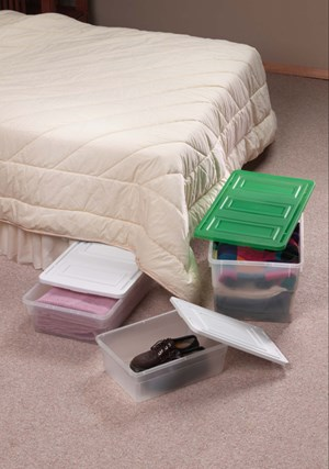 storage containers in bedroom