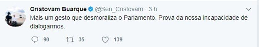 cristovam2 postagem sobre protesto das senadoras contra reforma trabalhista