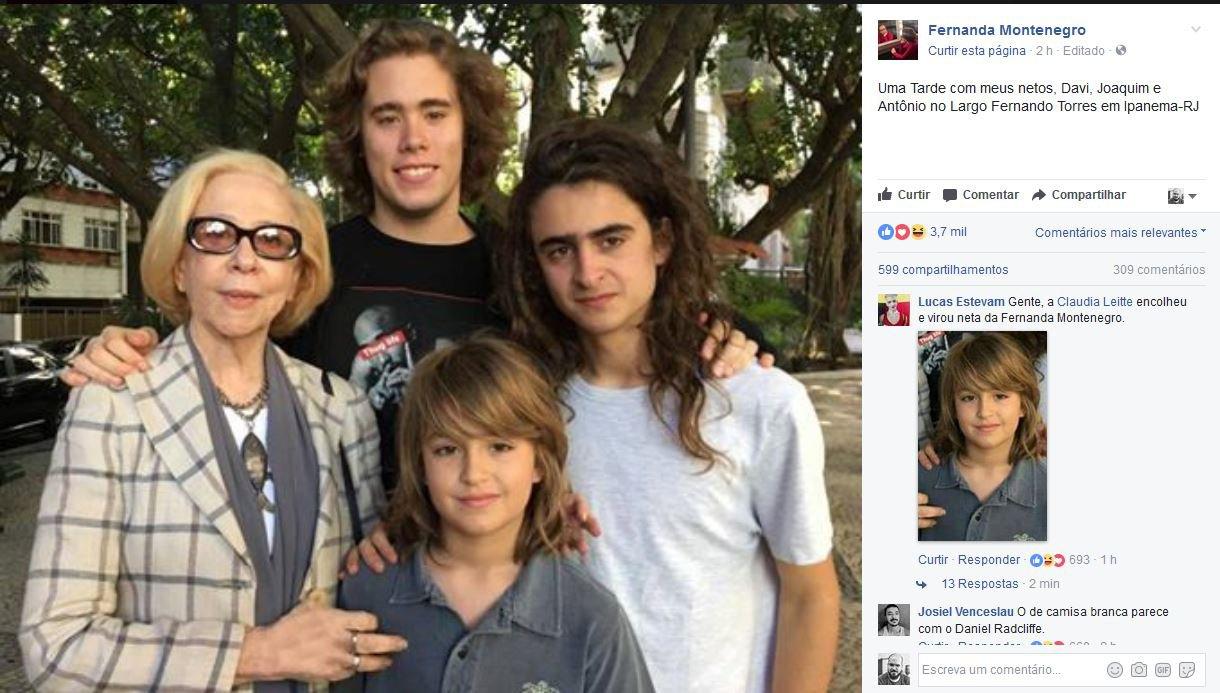 Fernanda Montenegro posta foto com os netos