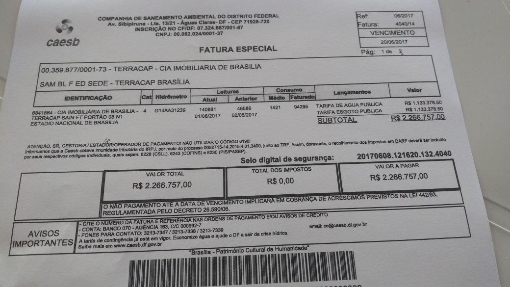 conta de água de R$ 2,2 milhões do Mané Garrincha