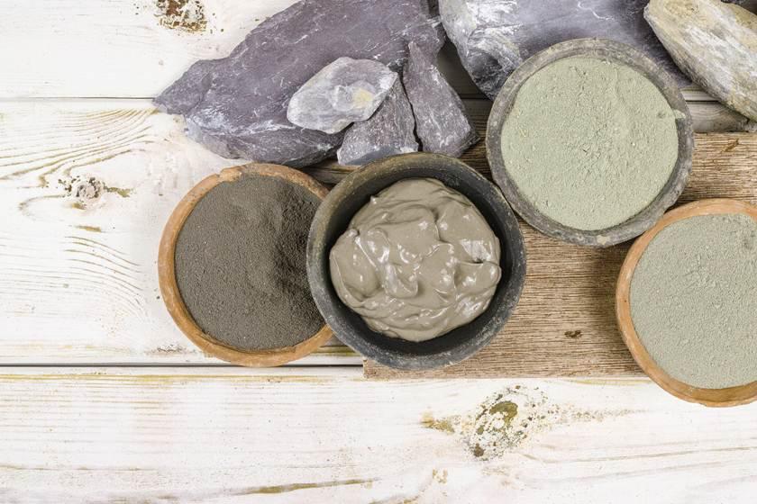 Ancient minerals - ochre, green, blue clay powder, mud mask