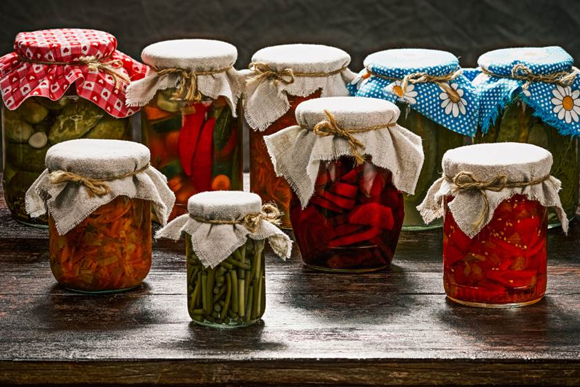 Various pickles in the pantry
