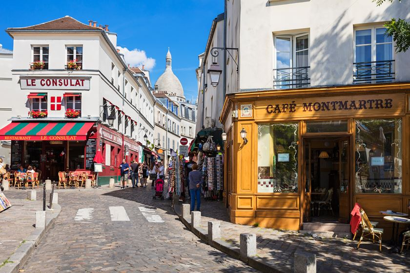 Charming quarter of Montmartre with traditional french cafes, Paris, France