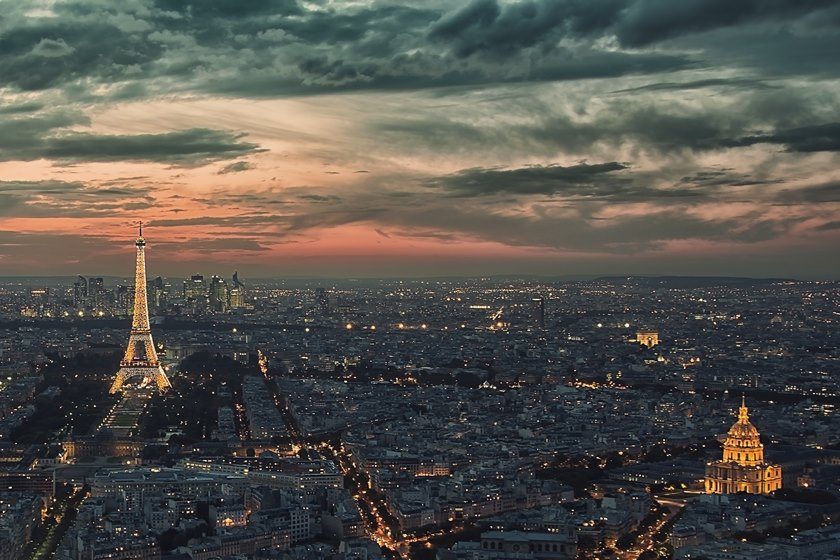 Eiffel tower and the business district La Defense in Paris
