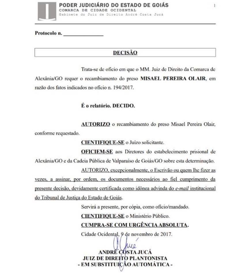 decisão juiz cidade ocidental transferência misael
