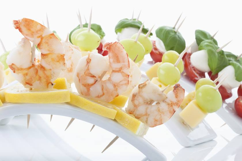 Mix of finger food in tooth picks, close up