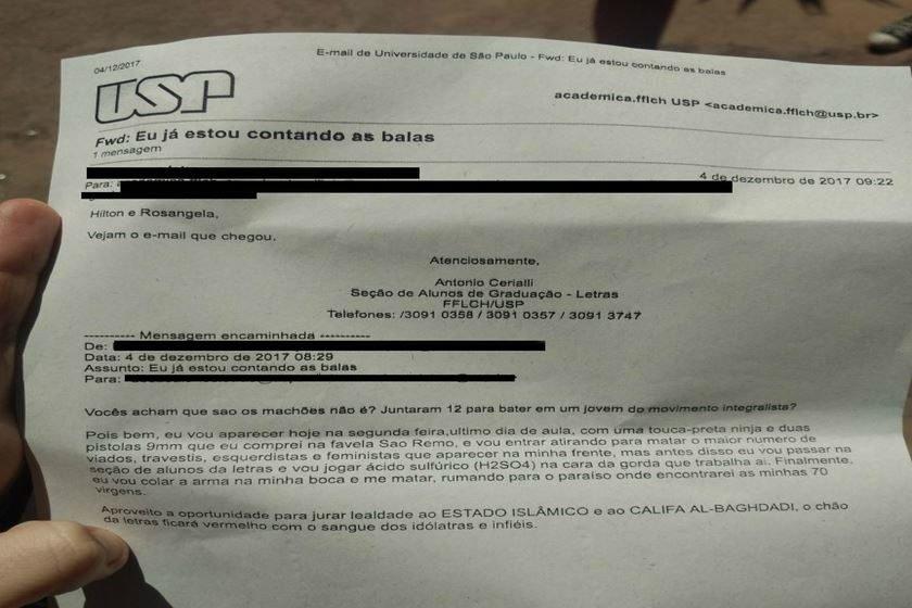 USP recebe carta de ameças de suposto ataque terrorista