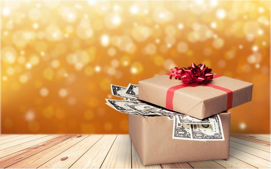 Gift box with money on  background