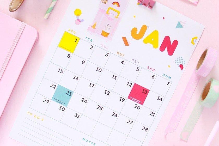 Calendários Lindos E Gratuitos De 2018 Para Imprimir Em Casa