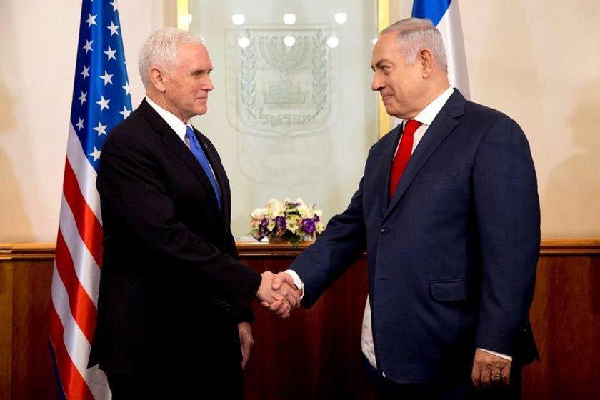 Em visita a Israel, Pence encontra Netanyahu