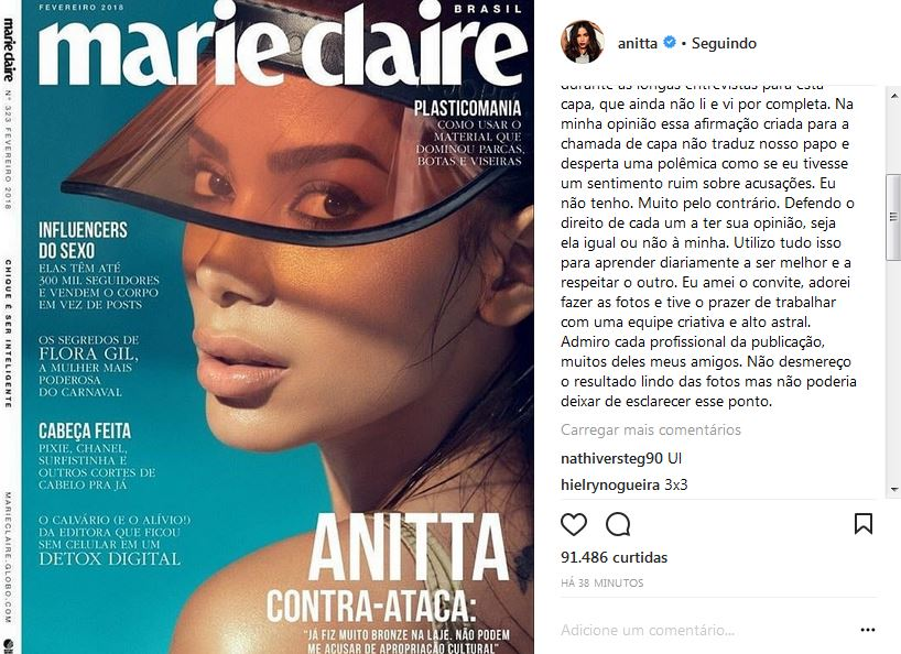 Resultado de imagem para anitta capa da marie claire 2018