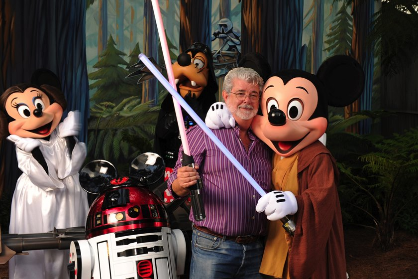 "George Lucas Poses With A Group Of ""Star Wars"" Inspired Disney Characters At Disney"