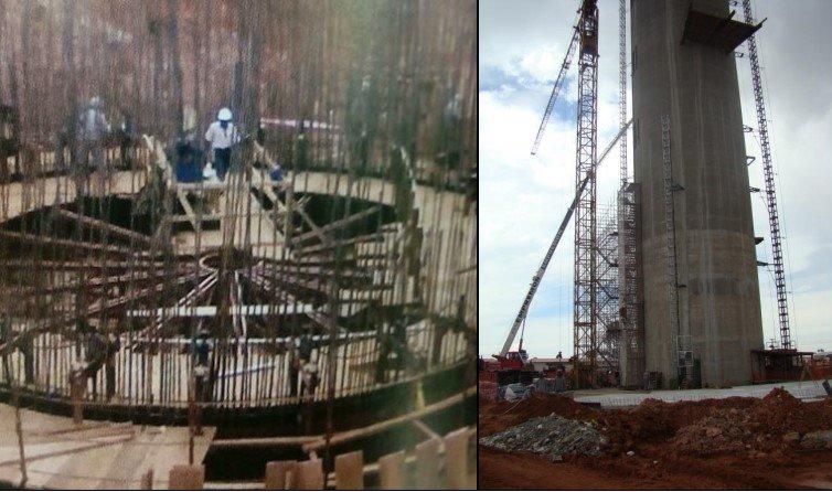 erguimento da armadura do fuste da base em concreto e aço Torre Digital - ArPDF