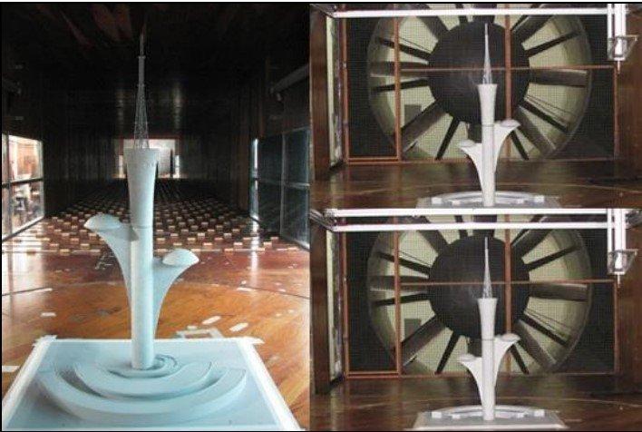 protótipo para realização do ensaio no tunel de vento da Torre de TV Digital