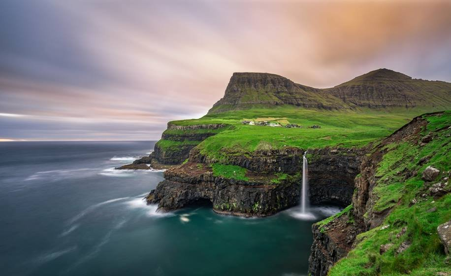 Gasadalur village and its waterfall, Faroe Islands, Denmark