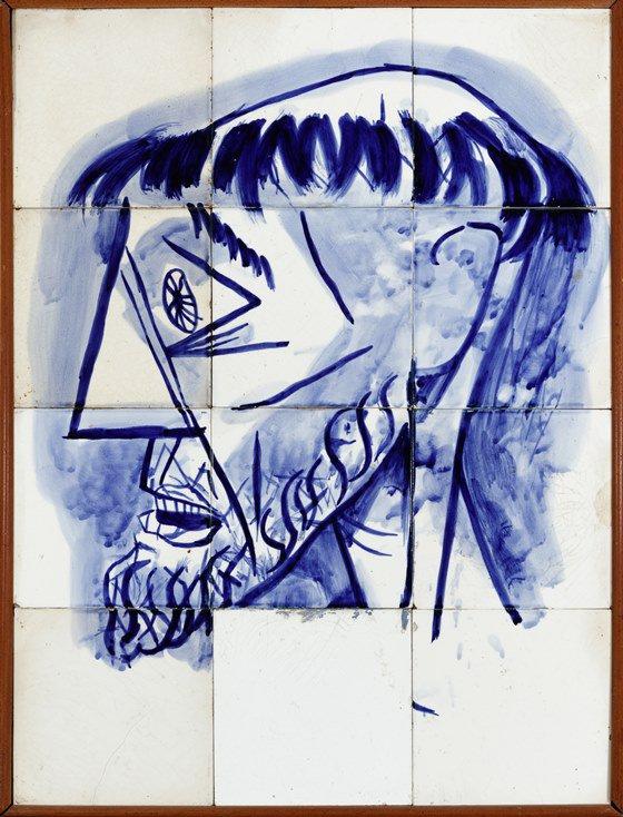 Candido Portinari (1903 – 1962). Cabeça de São Francisco, 1944. Prova de parte do painel de azulejos da Igreja de São Francisco de Assis, no Conjunto da Pampulha. Azulejo, 64 x 48 cm Foto Jaime Acioli