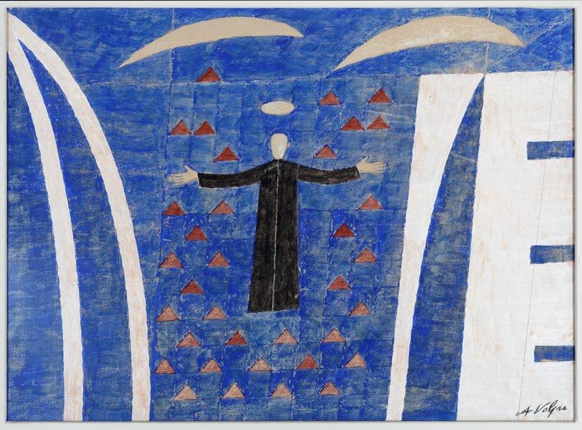 Estudo para O sonho de Dom Bosco pintado por Alfredo Volpi no Palácio do Itamaraty Foto Jaime Acioli