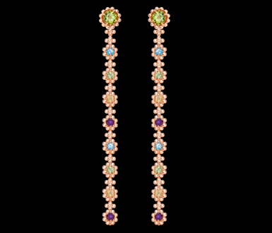 Brinco serenata-florzinhas-coloridas-ouro-rosa-fundo-negro