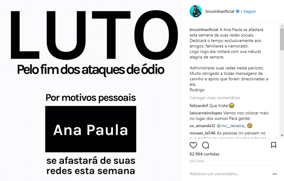 Após ataque de haters, Ana Paula recebe apoio de ex-brothers