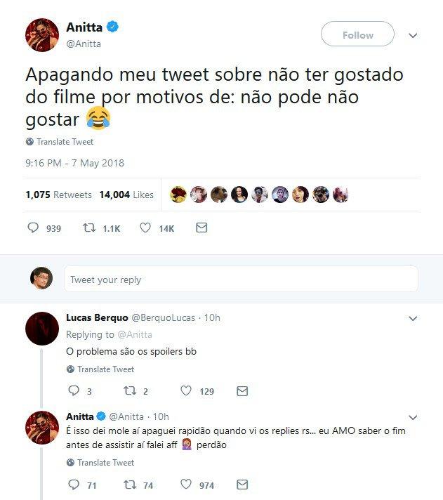 anitta1 - Anitta critica 'Vingadores: Guerra Infinita' e solta spoilers no Twitter