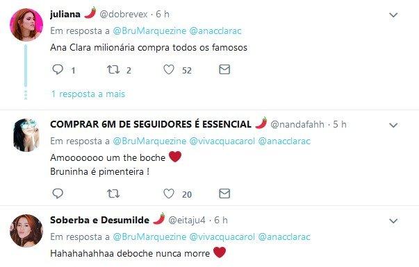Internauta diz que Ana Clara pagou Bruna Marquezine e atriz ironiza: 'Milhões'