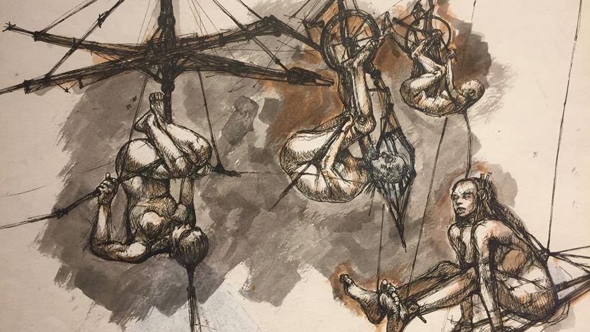 Mostra De Sergio Rizo Expoe A Desventura Dos Anjos Caidos