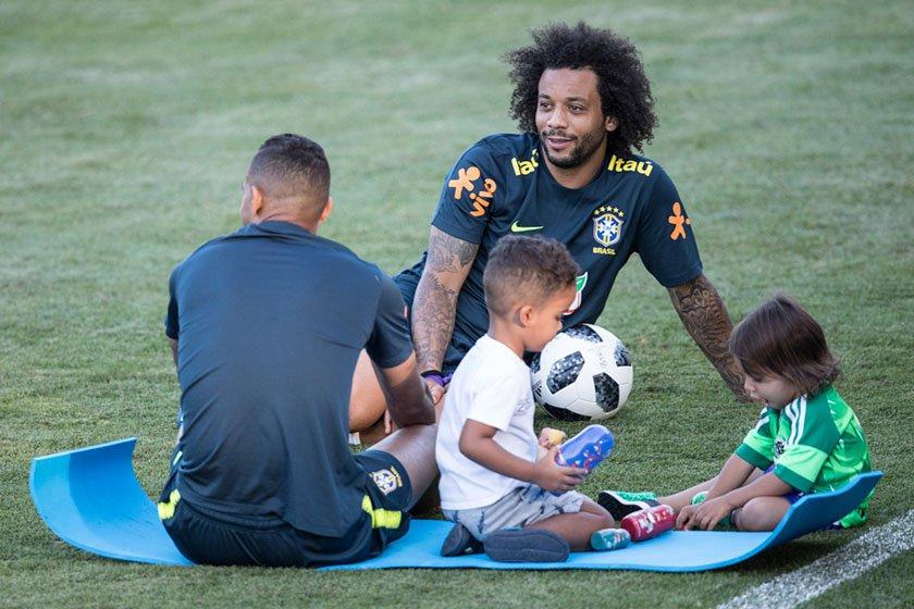 Treino Seleção Brasileira com os filhos