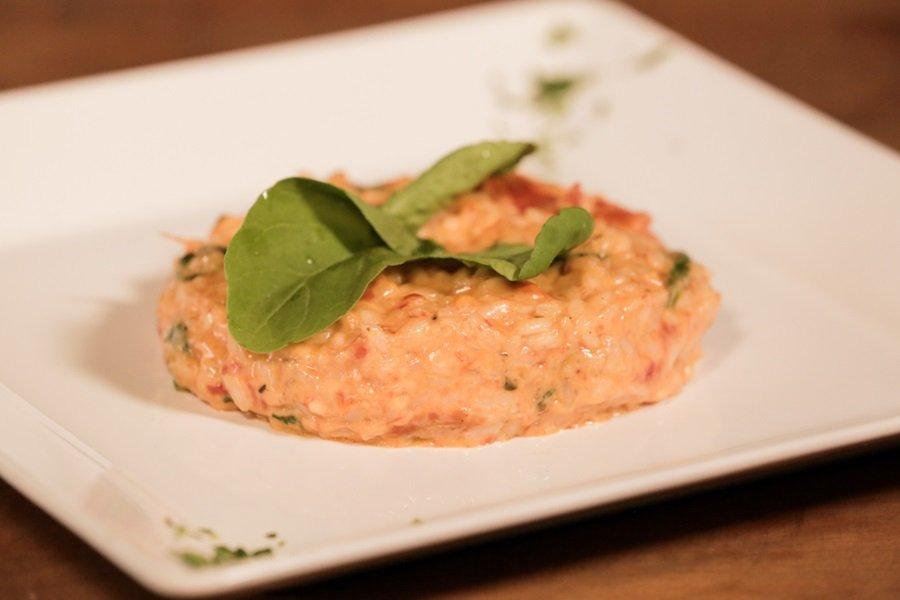 Risoto de tomate seco com rúcula