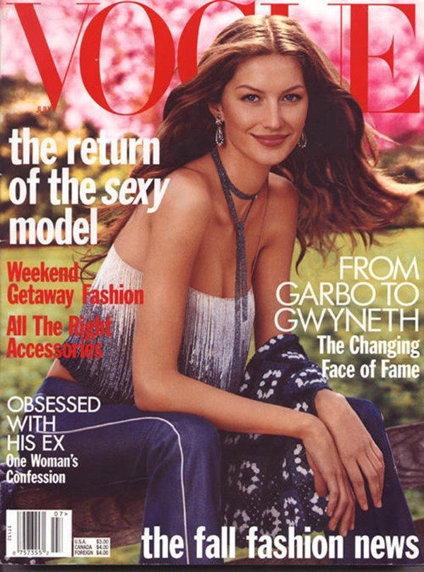 Gisele Bündchen na Vogue America. A foto é da primeira capa que a brasileira fez para a revista, em 1999