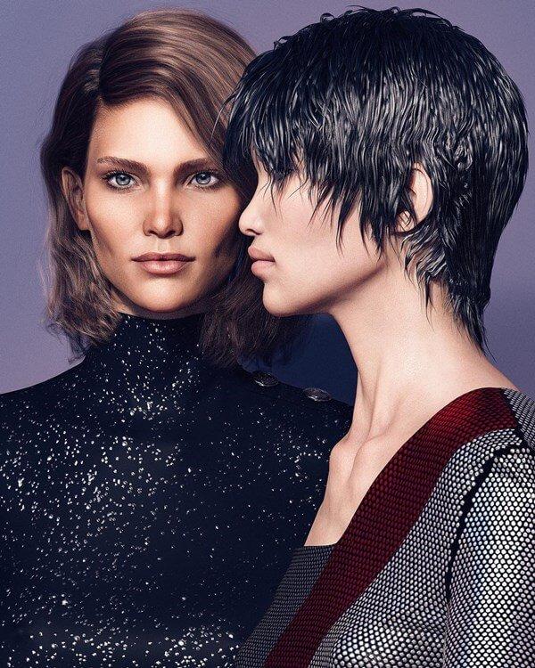 Modelos virtuais Margo e Zhi em campanha da Balmain