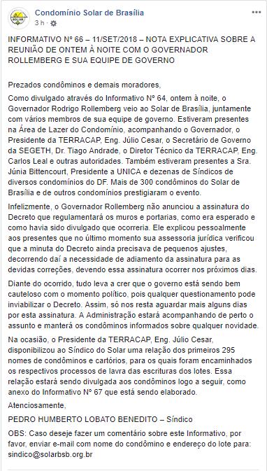 Sobre a reunião com o governador - Condomínio Solar Brasília