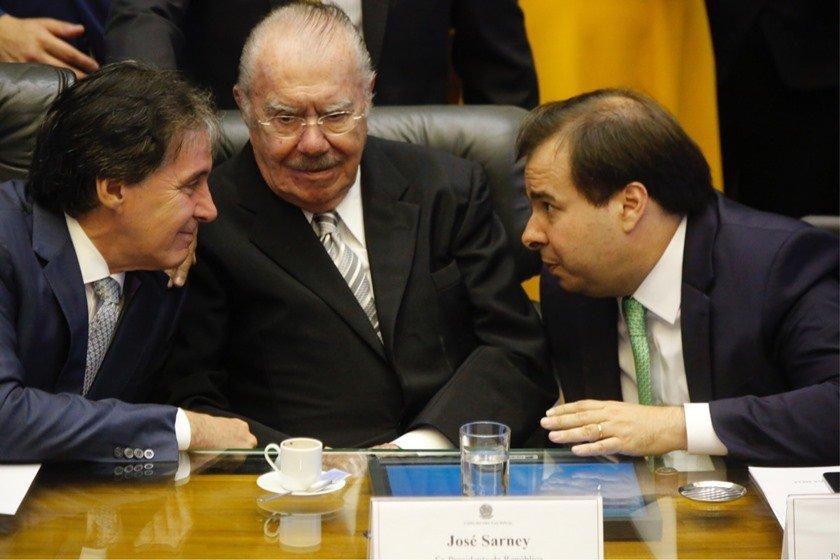 Eunício Oliveira, José Sarney e Rodrigo Maia