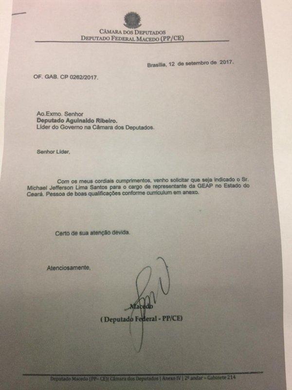 Aguinaldo Ribeiro documento