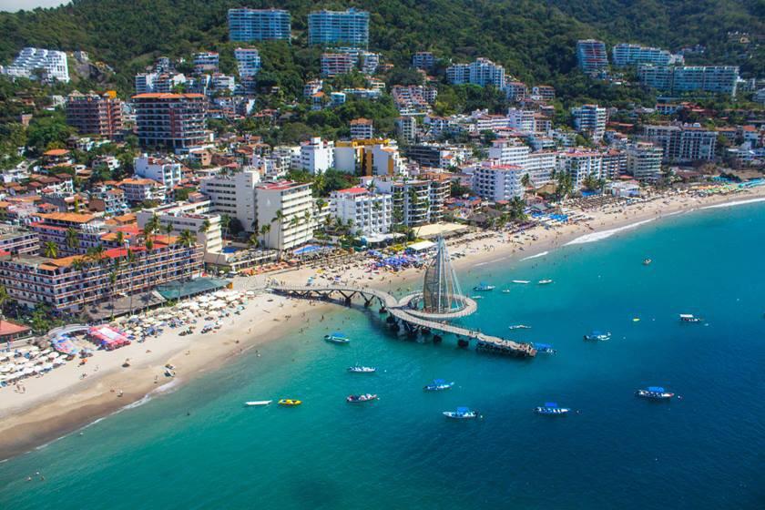 Puerto Vallarta bay from the air.