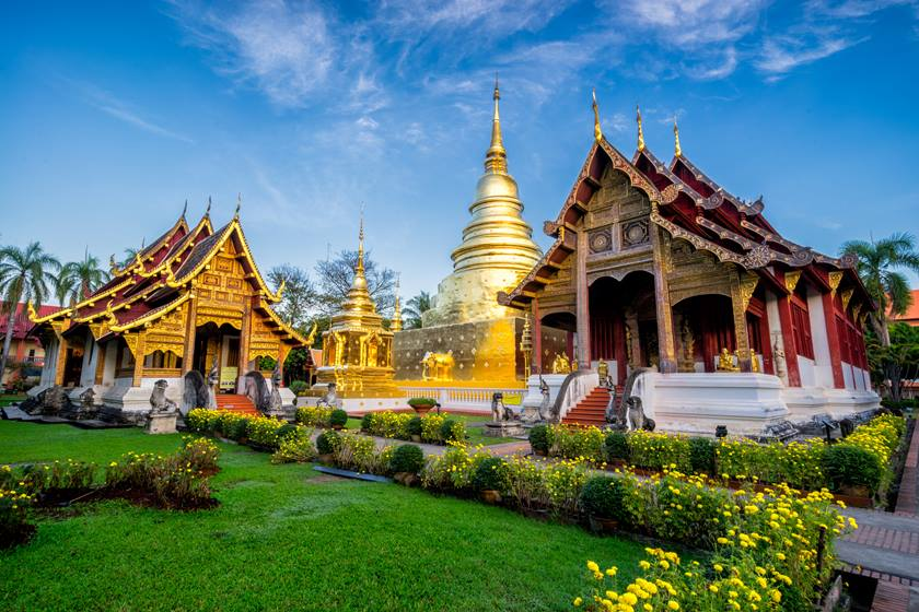Sunrise scence of Wat Phra Singh temple. This temple contains supreme examples of Lanna art in the old city center of Chiang Mai,Thailand.