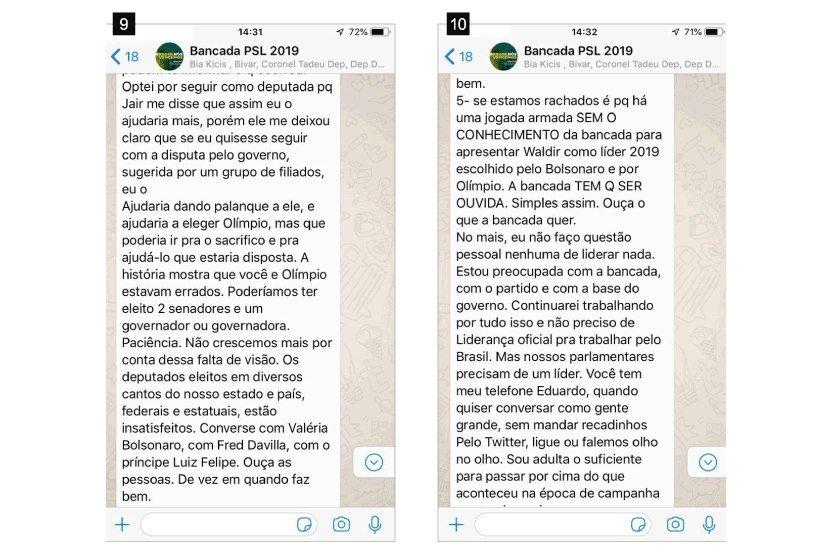 """Briga ocorreu na madrugada desta quinta-feira no grupo de WhatsApp batizado de """"Bancada PSL 2019"""""""