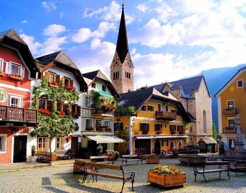 Quaint square in the Austrian village of Hallstatt