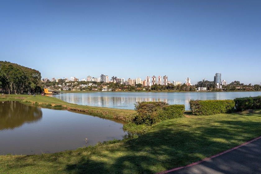 Panoramic view of Barigui Park and city skyline - Curitiba, Parana, Brazil