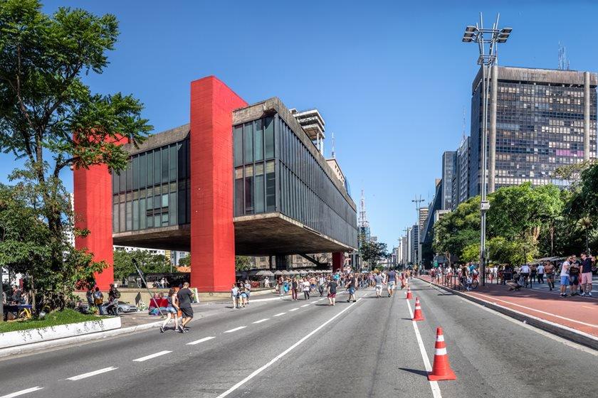 Paulista Avenue closed to cars on sunday and MASP (Sao Paulo Museum of Art) - Sao Paulo, Brazil