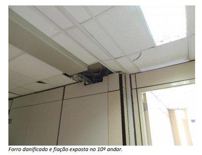 forro danificado e fiação exposta no 10a andar