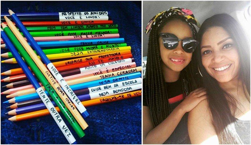 Seja Bondosa Mãe Escreve Mensagens Motivacionais Nos Lápis