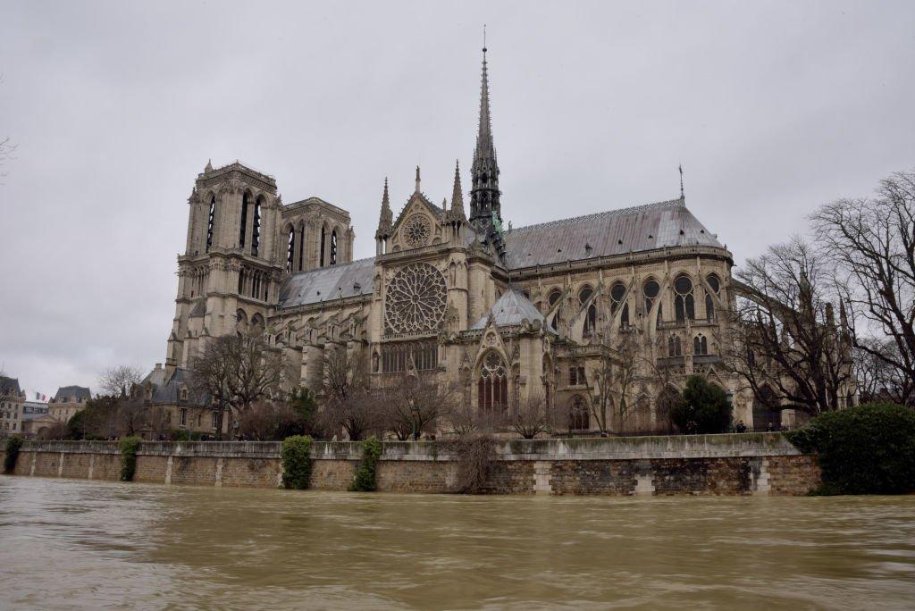 Notre-Dame de Paris seen as the water level is rising.Due